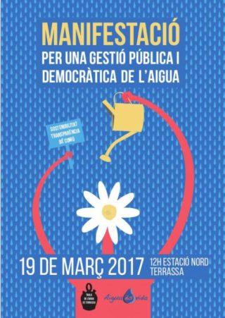 Manifestació per la gestió pública de l'aigua a Terrassa